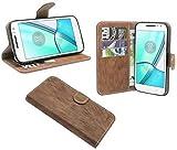 ENERGMiX Buchtasche Hülle Hülle kompatibel mit Lenovo Moto G4 Play Tasche Wallet BookStyle in Braun