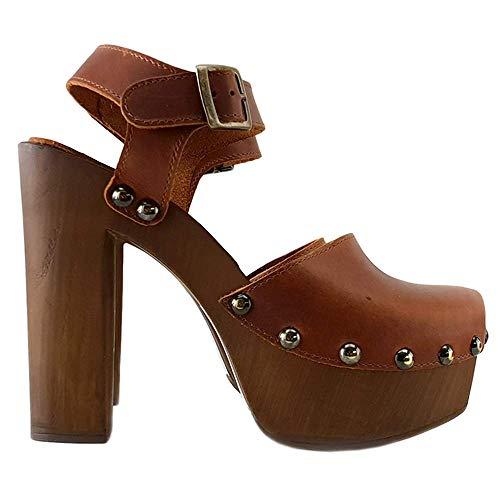 Kiara Shoes Zoccoli Svedesi Alti - Cuoio Made in Italy - MY462-MARRONE (Marrone, Numeric_39)