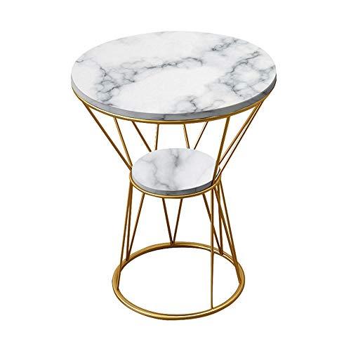 ZHIRONG Table D'appoint Rond Marbre Table Basse 2 Tiers Table D'appoint Canapé Table De Chevet Table De Snack Étagère De Rangement, 19.6''x22'' (Couleur : NOIR)