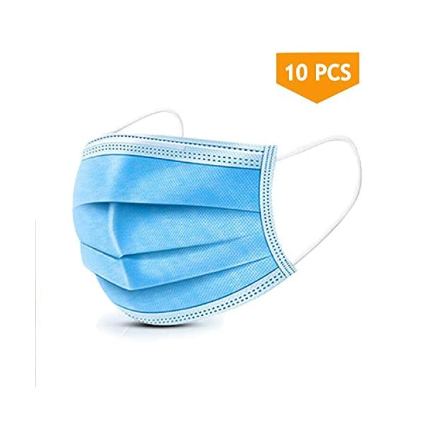 10PCS Disposable Face Masks, 3-Ply Earloop Mouth Mask for Dust and Personal Health, Respirator Masks Thicker Breathable and Comfortable Safety Face Masks for Home Office Use