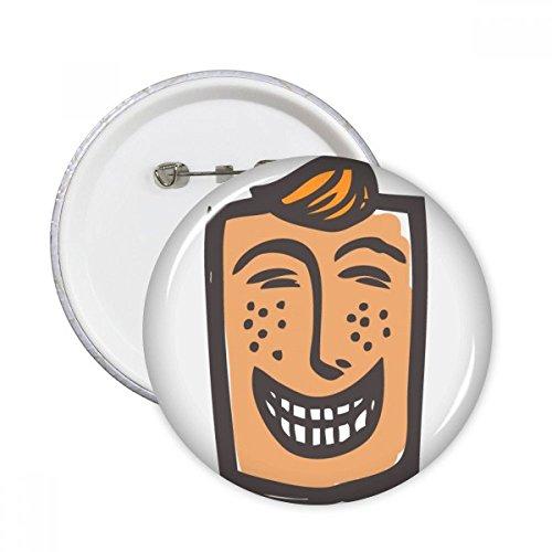 DIYthinker Botón de risa Resumen bosquejo de la cara emoticonos en línea para chatear pernos redondos Placa Ropa Decoración 5Pcs regalo XXL Multicolor