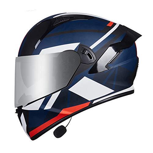 MOMOJA Casco Bluetooth Integrado para Motocicleta, Casco Integral, Antiniebla, Doble Espejo, Casco Abatible, Casco De Seguridad Aprobado por ECE C,M
