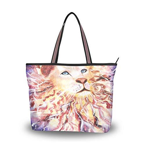 NaiiaN Bolsos de hombro con correa de peso ligero, bolso de mano con pintura, bolso de león, compras para mujeres, niñas, bolsos de estudiante para damas