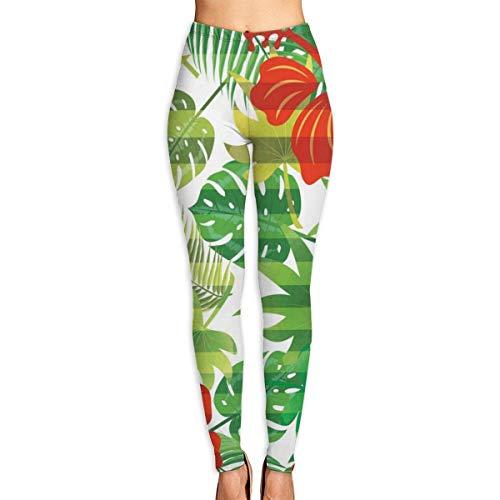 AAAshorts Tropical Leaves Hibiscus - Pantalones de yoga impresos para mujer, cintura alta, leggings de entrenamiento
