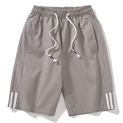 Pantalones de chándal para Hombre, Pantalones Cortos de Verano, Pantalones Casuales para Hombre, Cinco Pantalones, Pantalones Cortos, Tela Robusta, Gris Claro XXXL