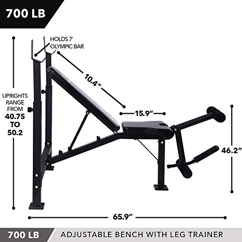 Olympic Weight Bench with Leg Developer Attachment by D1F for Strength Training and Powerlifting Reclining Workout Benches with Leg Extension and Curls for Weightlifting