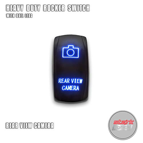 REAR VIEW CAMERA - Blue - STARK 5-PIN Laser Etched LED Rocker Switch Dual Light - 20A 12V ON/OFF Toggle