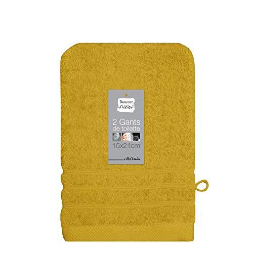 douceur d'intérieur 2 gants de toilette 15x21 cm eponge vitamine miel