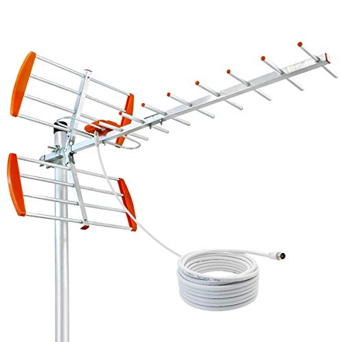 HIDB Outdoor HD Digital TV Antenna 120 Mile Range, Support 4K 1080P Clear Channel Reception, High Gain UHF/VHF Digital Signal - Attic or Roof Mount TV Antenna (Not Included Mounting Pole)