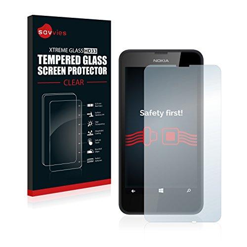 Savvies Panzerglas kompatibel mit Nokia Lumia 630 - Echt-Glas, 9H Festigkeit, Anti-Fingerprint
