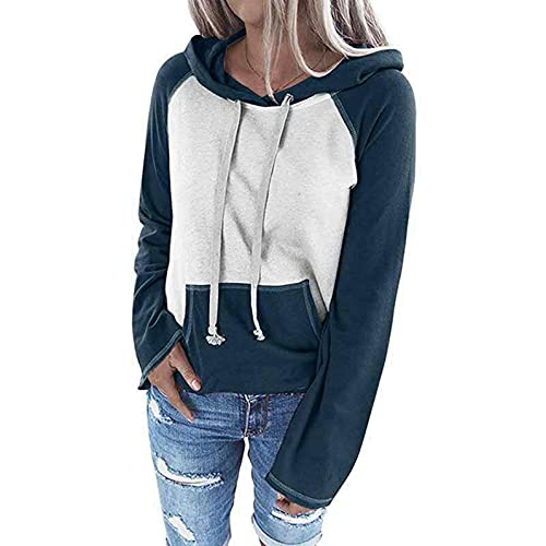 Padaleks Women's Loose Colorblock Sweatshirt Casual Hoodies Drawstring Pullover Tunic Tops with Pockets S-5XL