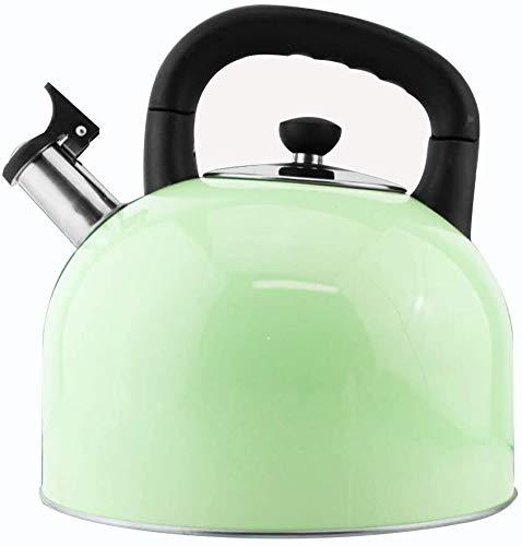 Poêle à gaz Bouilloire en acier inoxydable de style rétro bouilloire Whistling Kettle for tous les types de poêles Hob Accueil y compris l'induction UOMUN (Color : Green, Size : 4L)