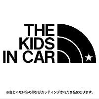 THE KIDS IN CAR 星柄(キッズインカ―)ステッカー パロディ シール 子供を乗せています(12色から選べます) (黒)