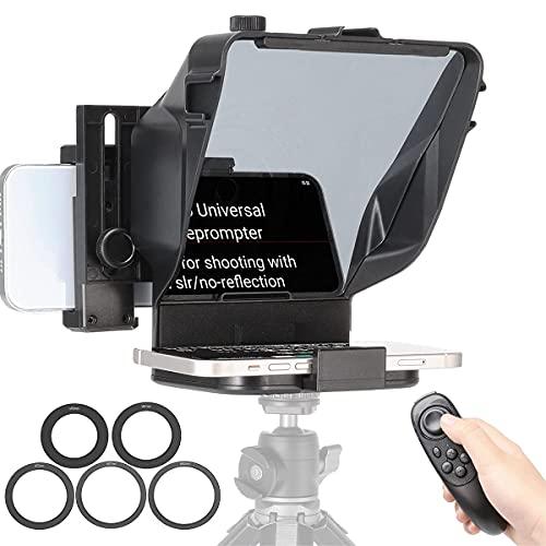 WEWOGA Kit de teleprompter Universal App Controlador Remoto inalámbrico Adaptador de Lentes Anillos para teléfono Inteligente Tableta Cámara portátil DSLR Vlog Youtube Tiktok Entrevista