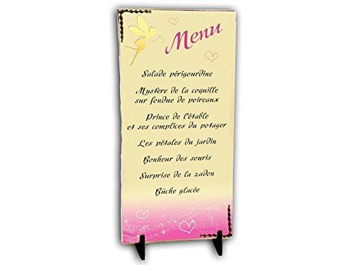 MENU tout en CHOCOLAT thème FEE couleur rose pour baptême mariage communion anniversaire personnalisée avec votre texte