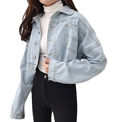 Minetom Damen Kurze Oversize Jeansjacke mit Rissen und Ausgefranstem Saum Frauen Stretch Denim Jacke Knopf Mantel Crop Top B Hellblau 40