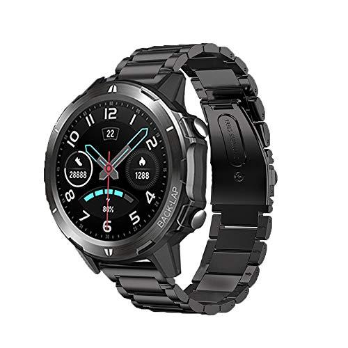 LvBu Armband Kompatibel mit Uwatch GT, Classic Edelstahl Uhrenarmband für UMIDIGI Uwatch GT/ Uwatch3 Smartwatch (Schwarz)