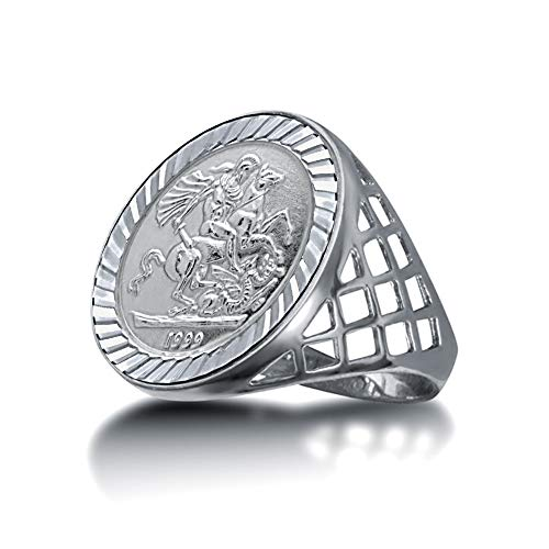 Jewelco Europa Men's Solid Sterling Silver St George Dragon Slayer Basket Tenth-Krugerrand-Size Ring