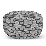 Ambesonne Abstract Ottoman Pouf, Stone Wall Doodle Drawing Style Cartoon Image Rustic Life Architecture Theme, Decorative Soft Foot Rest with Removable Cover Living Room and Bedroom, Grey Pale Grey