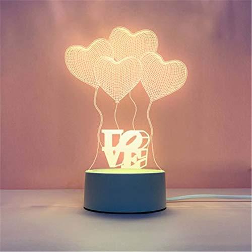 Fósforo Explosión 3d luz nocturna creativa dormitorio pequeño lámpara de mesa led regalo mesa lámpara usb luz de noche, Acrílico + ABS., A (Globo de amor), 4*1.6IN