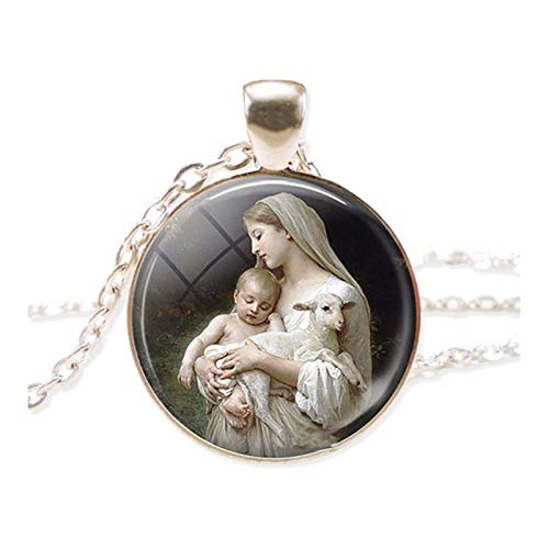 DERFX Virgin Mary Jesus And Lamb Cabochon Glass Pendant Necklace Chain Necklace Religion Jewelry Christian Gift Accessories (Metal color : SILVER)