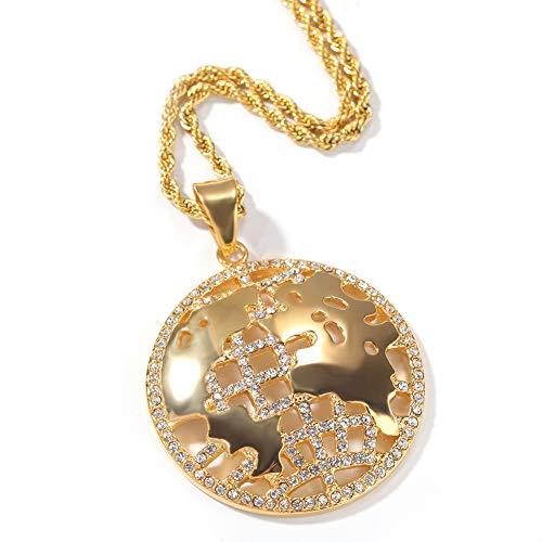 Cadena de Acero Inoxidable Chapado en Oro con Colgante de Mapa del Mundo con Diamantes para Hombre y Mujer, Joya Personalizada
