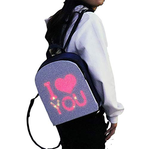 NINI DIY Image Waterproof Backpack, Urban Dynamic Animation LED Backpack,Mobile Phone Remote Control Fashion Cool Men And Women Advertising Backpack,Black