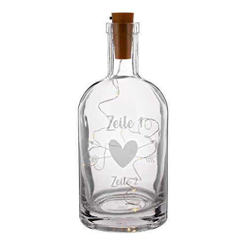 Herz & Heim® Karaffe mit Gravur inkl. LED Flaschenlichterkette - romantische Dekoration zur Hochzeit