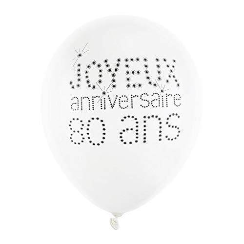 Chal - Ballon Joyeux Anniversaire Blanc 80 Ans x 8