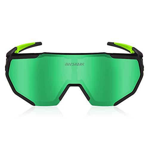 Queshark Occhiali da Ciclismo Polarizzati con 3 Lenti Intercambiabili per Uomo Donna UV 400