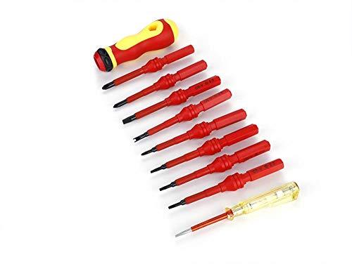 Juego de Destornilladores - Destornillador para Electricista de 500 V con lápiz de Prueba - Juego de Destornilladores con Aislamiento de 10 Piezas