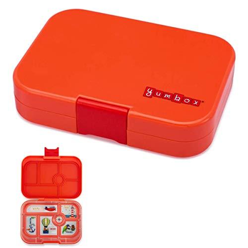 YUMBOX Original (mit 6 Fächern) - PERSONALISIERBAR - Brotbox/Bento Box mit Fester Fächer-Unterteilung - auslaufsichere Brotdose für Schule - ideal zur Einschulung (Saffron Orange (ohne Namen))