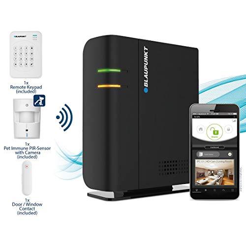 """Blaupunkt Q-Pro6600 Smarthome Funk-Alarmanlage, Starter Set mit integrierter Sirene, Funk-Bedienteil für den Eingangsbereich, Tür-/Fenstersensor und """"tierimmunen"""" Bewegungsmelder mit Fotoüberwachung"""