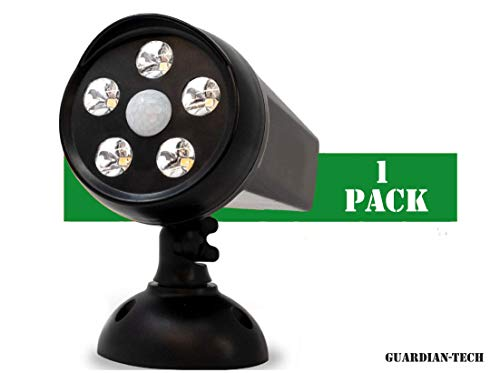 Guardian Tech Security Torch LED Spotlight | Solar Motion Detector Lights for Outside | High Powered Spot Light | Mountable Bright Wireless Spotlight Outdoor