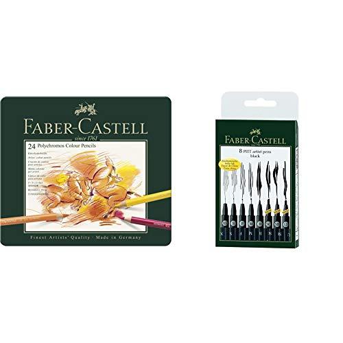 Faber-Castell 110024 Matite Colorate, 24 Pezzi & 167137 Pennarello, 8 Pezzi