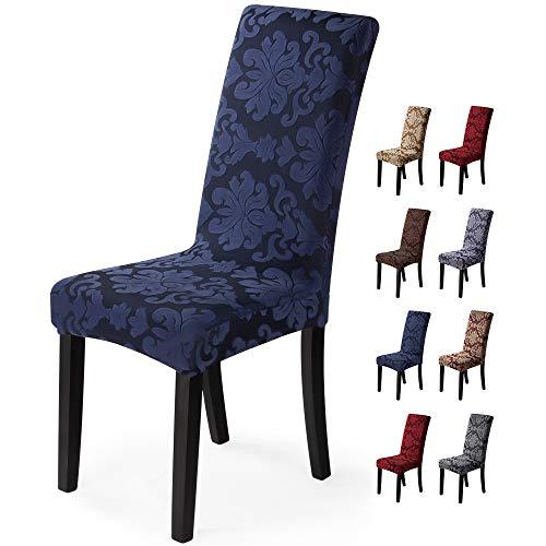 Fundas para sillas 6 Piezas Funda de Silla Comedor Stretch Cubiertas para sillas Extraíble Lavable Cubierta de Asiento Fundas sillas Duradera Modern Boda Decor Restaurante(6 Piezas,Jacquard-Azul)