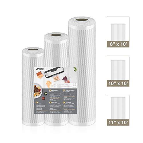 """VPCOK Vacuum Sealer Bags 3 Rolls 8"""" x 10', 10"""" x 10', 11"""" x 10' Vacuum Sealer Rolls 3 Pack BPA Free Fit VPCOK Vacuum Sealer Sous Vide Bags for Food Saver Food Storage Bag Roll Vac Storage Meal Prep"""