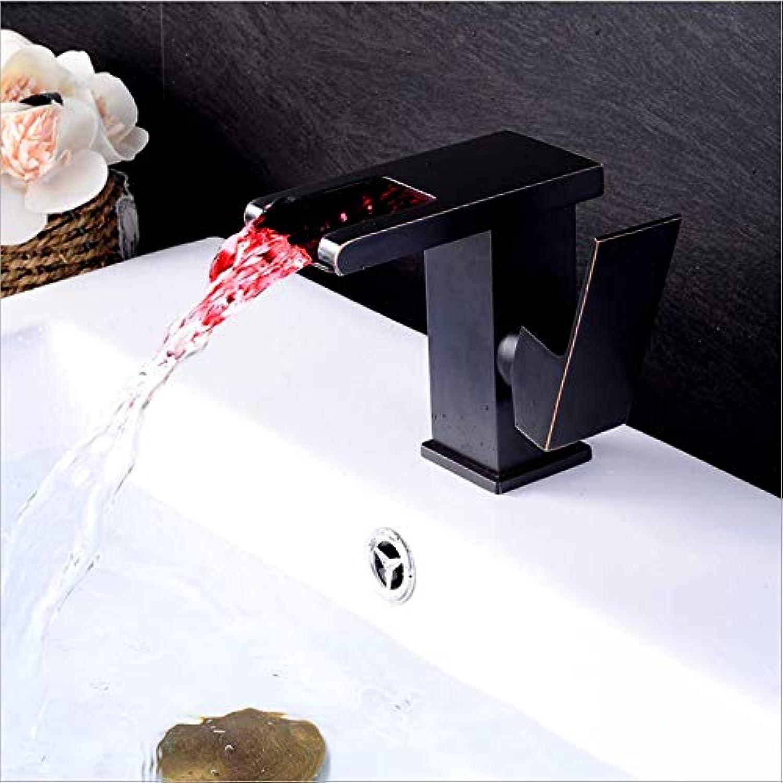 Jukunlun Becken Wasserhahn Bad Led Wasserhahn Hei Kalt Wasserfall Wasserhahn Schwarz l Gebürstet Waschbecken Mischer Bad Deck Montiert Waschraum Wasserhahn