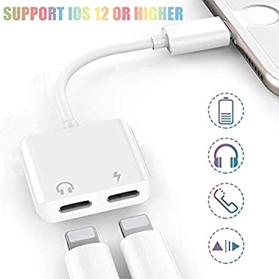 Headphone Jack Adapter for iphone 7 Headphone adaptor splitter for iPhone 8/8 Plus/X / 7/7 Plus/Xs/Max/XR (Audio+Charge+Volume Control+Call) Dongle Accessory Connector iOS 12 Higher for iPhone Headset
