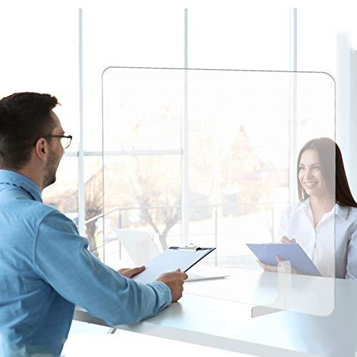 FULLWATT Barriera Parafiato Plexiglass 60X80 cm da Ufficio, Pannello di Protezione Trasparente per Scrivania, Divisorio Plexiglass per Starnuti da Scuole, Supermercati, Farmace, Negozi e Banco