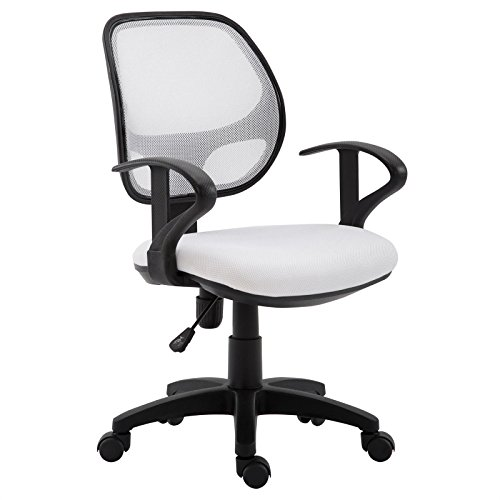 IDIMEX Kinderdrehstuhl Schreibtischstuhl Drehstuhl Bürodrehstuhl COOL, 5 Doppelrollen, Sitzpolsterung, Armlehnen, in weiß