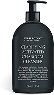 Activated Charcoal Cleanser 4 fl oz with MSM and Vegan DMAE, Vitamin C and Alpha Lipoic Acid Helps to Combat Acne and Blemishes, Fade Dark Spots, and Provide Anti-aging and Antioxidant Protection.