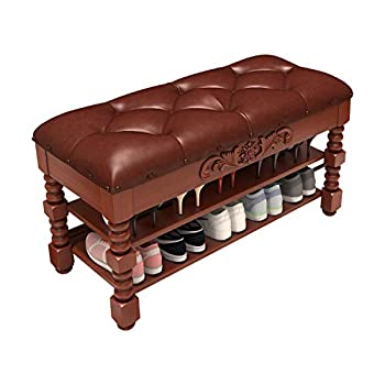KASLANDI Shoe Bench Solid Wood Shoe Storage Bench Entryway with Lift Top 3-Tier Vintage Shoe Rack Bench with Seating Tufted Leather Cushion for Foyer 39.3 x13.8 x16.5
