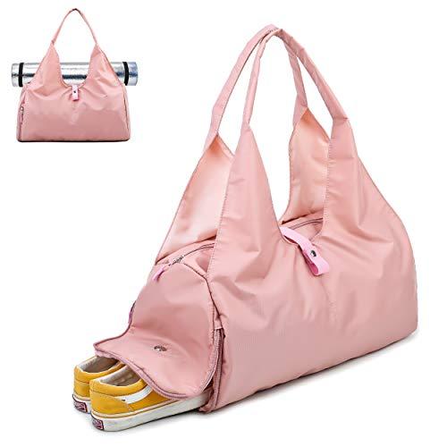 Joqixon Damen Sporttasche mit Schuhfach Nylon Wasserdicht Reisetasche für Herren und Mädchen, 35L Fitnesstasche Gym Tasche Schwimmtasche für Yoga Tanz Schwimmen, Groß Rosa