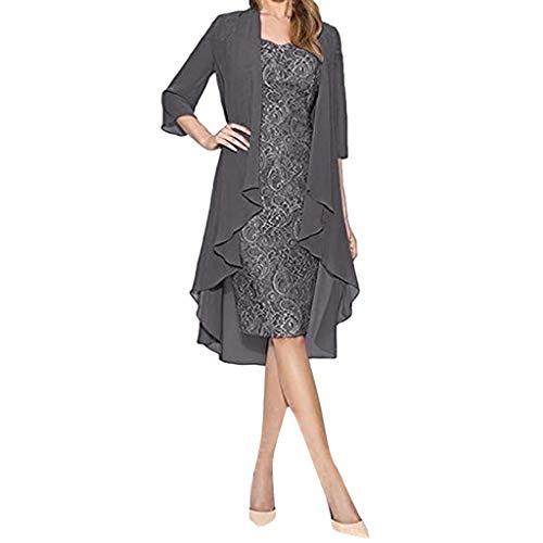 VEMOW Vestido Mujer Moda Dos Piezas Encantador Color sólido Madre deColor sólido la Novia Cordón Vestidos OtoñO Summer(Gris,4XL)