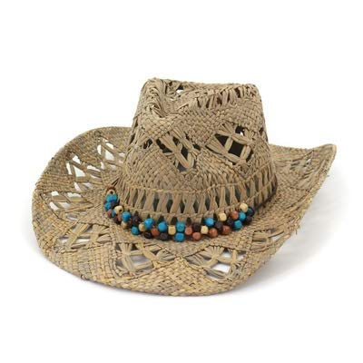 ERCZYO Sombrero de Vaquero de Paja de Rafia Natural Mujer Hombre Tejido a Mano Sombreros de Vaquero for la señora de la Borla Sombreros Occidentales del Verano L3