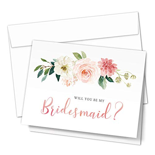 Bridesmaid Proposal Cards. 8 Will You Be My Bridesmaid and 2 Maid of Honor Cards with Envelopes. Set of 10 Elegant Floral Cards for the Bridal Party