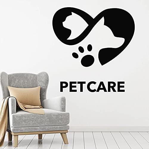 HGFDHG Calcomanías de Pared para el Cuidado de Mascotas Amor Animales Amistad Perros Gatos Puertas y Ventanas Pegatinas de Vinilo clínica Veterinaria Tienda de Mascotas decoración de Interiores