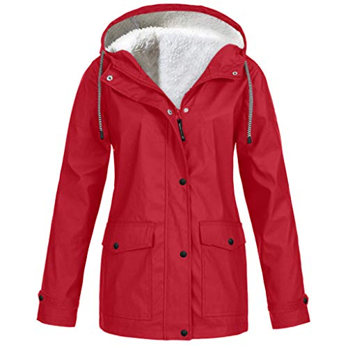 EUZeo Regenmantel Damen Winterjacke Parka Pumps Wintermantel Outdoor Fleece Winter Warme Wasserdichter Kapuzenjacke Regenjacke für Frauen Outdoorjacken Regenmantel mit Kapuze Windproof