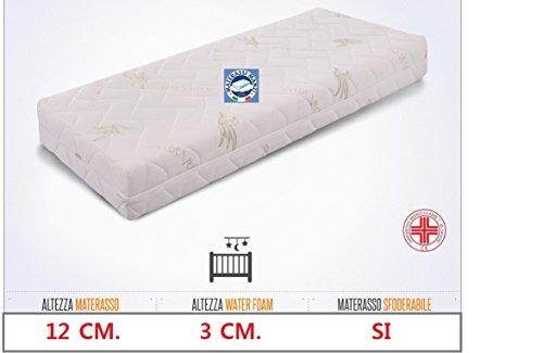 Materasso ideale per culla e lettino mis. 60x125 in Water Foam + Memory Foam 3 cm. antisoffoco, anallergico e con guscio sfoderabile e lavabile in lavatrice 100% Made in Italy ed ortopedico